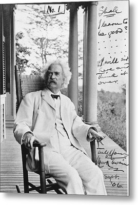 Mark Twain On A Porch Metal Print by Underwood Archives