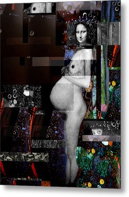 Mona Lisa Pregnant Nude Metal Print by Karine Percheron-Daniels