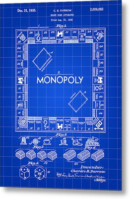 Monopoly Patent 1935 - Blue Metal Print by Stephen Younts