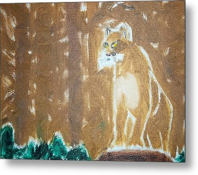 Mountain Lion Oil Painting Metal Print by William Sahir House