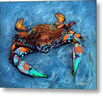 Crabby Blue Metal Print by Jeff McJunkin