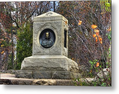 New York At Gettysburg - 140th Ny Volunteer Infantry Little Round Top Colonel Patrick O' Rorke Metal Print by Michael Mazaika
