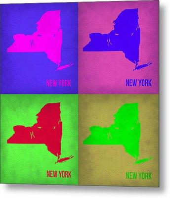New York Pop Art Map 1 Metal Print by Naxart Studio