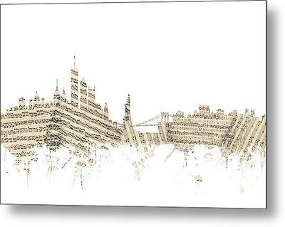 Philadelphia Pennsylvania Skyline Sheet Music Cityscape Metal Print by Michael Tompsett