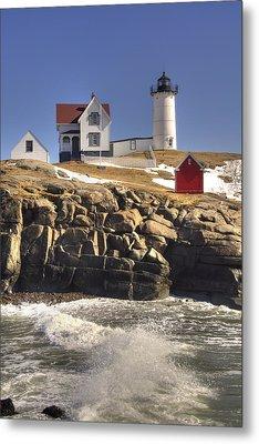 Nubble Lighthouse 3 Metal Print by Joann Vitali
