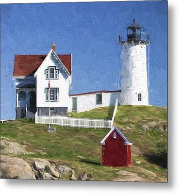Nubble Lighthouse Maine Painterly Effect Metal Print by Carol Leigh