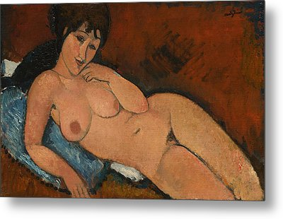 Nude On A Blue Cushion Metal Print by Amedeo Modigliani