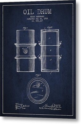 Oil Drum Patent Drawing From 1905 Metal Print by Aged Pixel