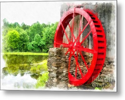 Old Grist Mill Vermont Red Water Wheel Metal Print by Edward Fielding