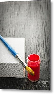 Paintbrush On Canvas Metal Print by Elena Elisseeva