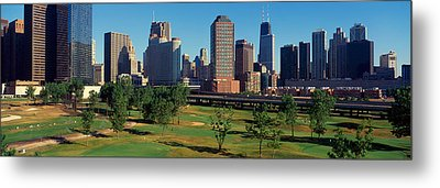 Panoramic View Of The City Skyline Metal Print by Panoramic Images