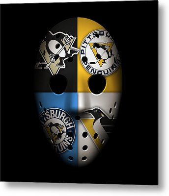 Penguins Goalie Mask Metal Print by Joe Hamilton