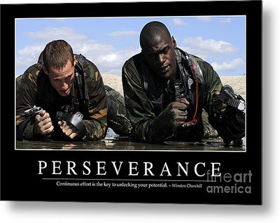 Perseverance Inspirational Quote Metal Print by Stocktrek Images