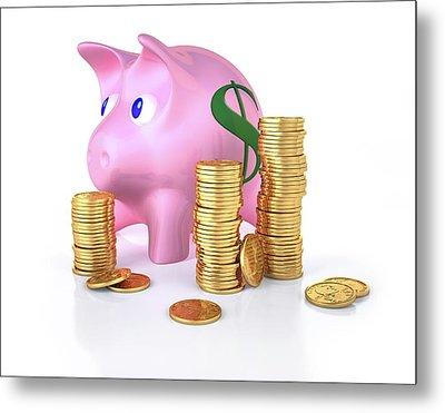 Piggy Bank And Gold Coins Metal Print by Leonello Calvetti