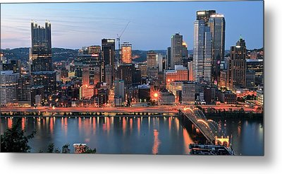 Pittsburgh At Dusk Metal Print by Frozen in Time Fine Art Photography