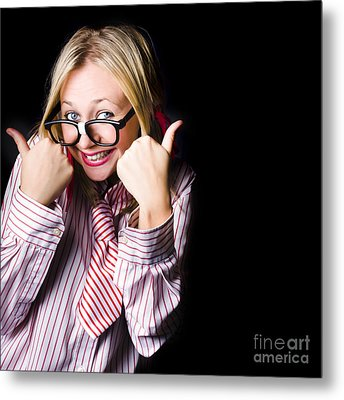 Portrait Of Businesswoman Gesturing Good To Go Metal Print by Jorgo Photography - Wall Art Gallery