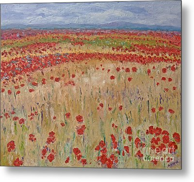Provence Poppies Metal Print by Barbara Anna Knauf