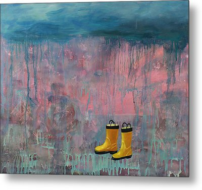 Rainy Day Galoshes Metal Print by Guenevere Schwien