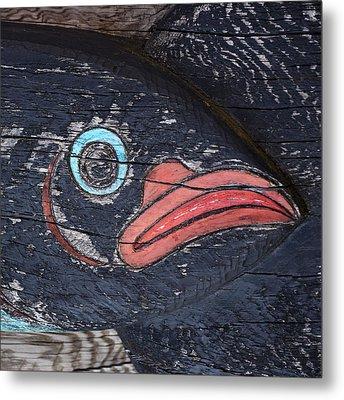 Raven Totem Figure Metal Print by Carol Leigh