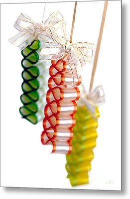 Ribbon Candy Portrait Metal Print by Iris Richardson