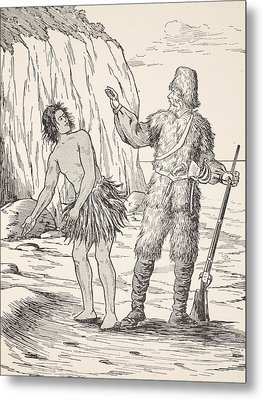 Robinson Crusoe And Friday Metal Print by English School