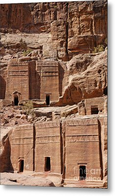 Rock Cut Tombs On The Street Of Facades Petra Jordan Metal Print by Robert Preston