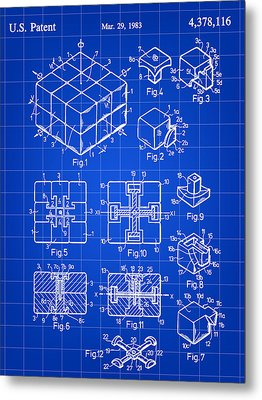 Rubik's Cube Patent 1983 - Blue Metal Print by Stephen Younts