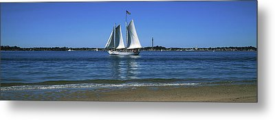 Sailboat In Ocean, Provincetown, Cape Metal Print by Panoramic Images