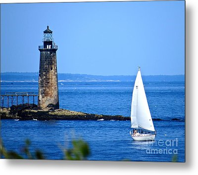 Sailing By Ram Island Light Metal Print by Nancy Patterson