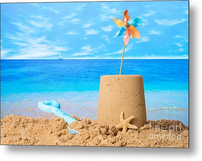 Sandcastle On Beach Metal Print by Amanda Elwell