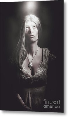 Scared Woman Trapped Down In A Dark Dungeon Metal Print by Jorgo Photography - Wall Art Gallery