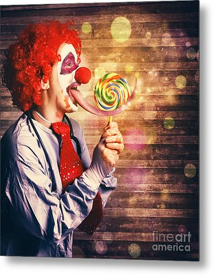 Scary Circus Clown At Horror Birthday Party Metal Print by Jorgo Photography - Wall Art Gallery