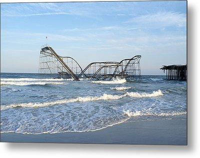Seaside Heights - Jet Star Roller Coaster In Ocean Metal Print by Niday Picture Library