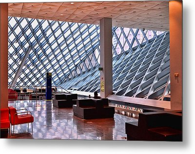 Seattle Library Reading Room 2 Metal Print by Allen Beatty