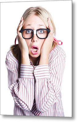 Shocked Business Woman On White Metal Print by Jorgo Photography - Wall Art Gallery