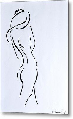 Sketch Of A Nude Woman Metal Print by Anna Androsovski