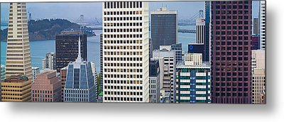 Skyscrapers In The Financial District Metal Print by Panoramic Images