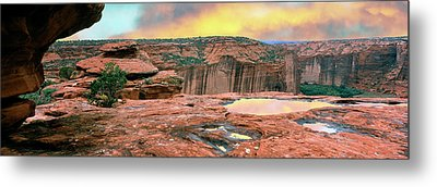 Slickrock Waterpocket Pools Reflect Metal Print by Panoramic Images