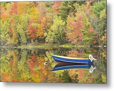 Small Motor Boat In Fall Torsey Pond Readfield Maine Metal Print by Keith Webber Jr