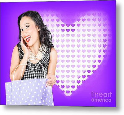 Smiling Woman With A Valentines Day Gift Bag Metal Print by Jorgo Photography - Wall Art Gallery