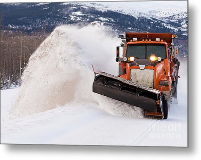 Snow Plough Clearing Road In Winter Storm Blizzard Metal Print by Stephan Pietzko