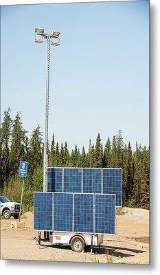 Solar Lighting At A Tar Sands Mine Metal Print by Ashley Cooper