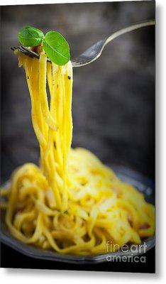 Spaghetti Carbonara Metal Print by Mythja  Photography