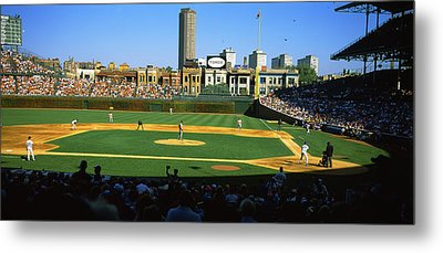 Spectators In A Stadium, Wrigley Field Metal Print by Panoramic Images