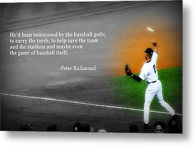 Spotlight On Derek Jeter With Quotation Metal Print by Aurelio Zucco