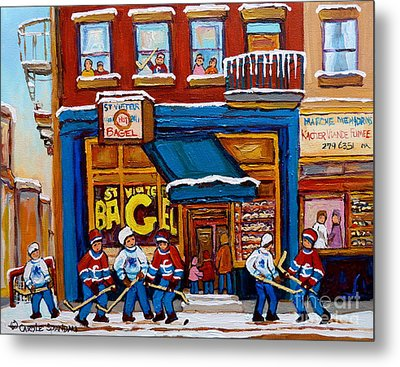 St. Viateur Bagel With Hockey Metal Print by Carole Spandau