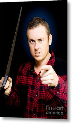 Stressed Workman Pointing The Finger At You Metal Print by Jorgo Photography - Wall Art Gallery