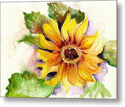 Sunflower Watercolor Metal Print by Tiberiu Soos