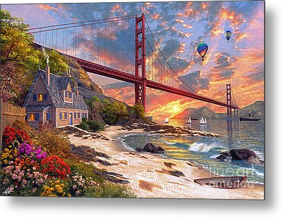 Sunset At Golden Gate Metal Print by Dominic Davison