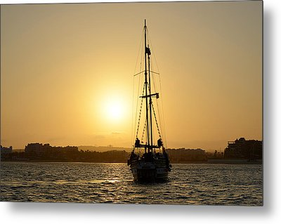 Sunset Sailing In Cabo Metal Print by Christine Till